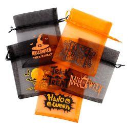 25 ks Halloween tašky / z organzy 12 x 15 cm - mix vzorů a barev Dekorativní Organza tašky