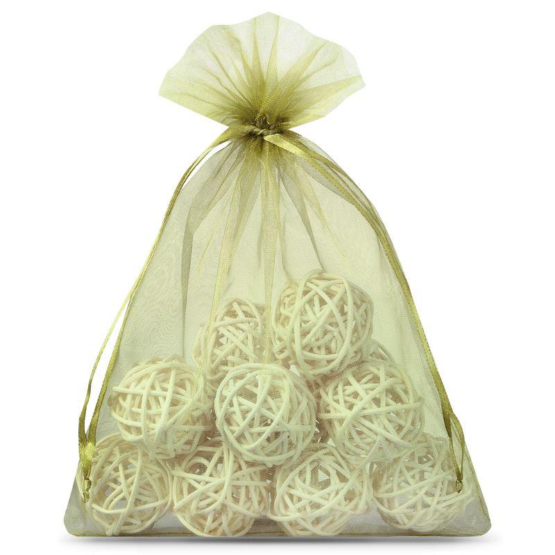 10 ks Organza tašky 15 x 20 cm - olivový
