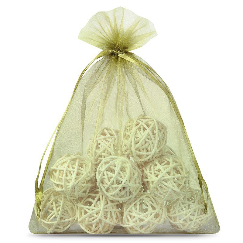 10 ks Organza tašky 22 x 30 cm - olivový