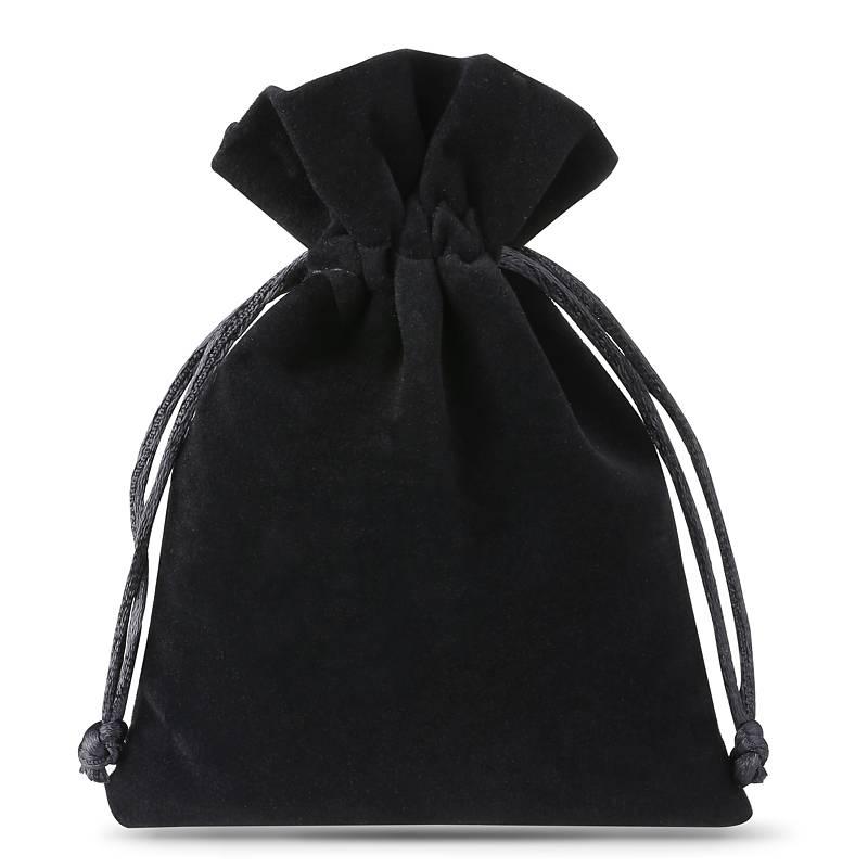 10 ks Sametové sáčky 6 x 8 cm - černé