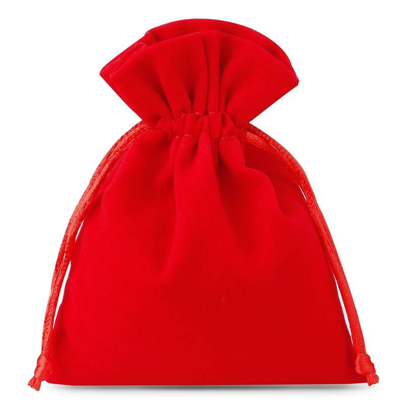 10 ks Sametové sáčky 6 x 8 cm - červené