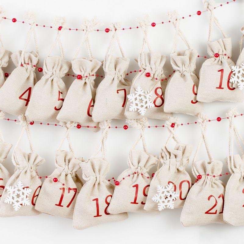Adventní kalendář, 24 ks Lněný pytlík 12 x 15 cm - přirozené