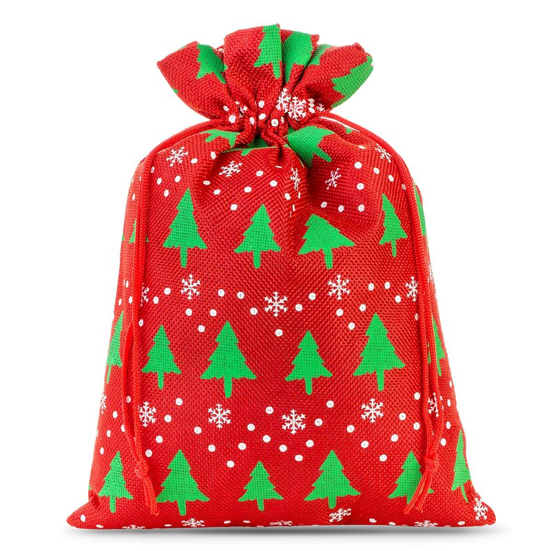 1 ks Jutové sáčky 30 x 40 cm - červený / vánoční strom