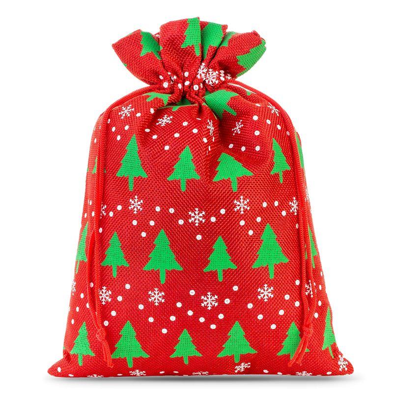 1 ks Jutové sáčky 40 x 55 cm -  červený / vánoční strom