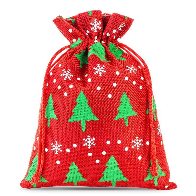 10 ks Jutové sáčky 12 x 15 cm - červený / vánoční strom