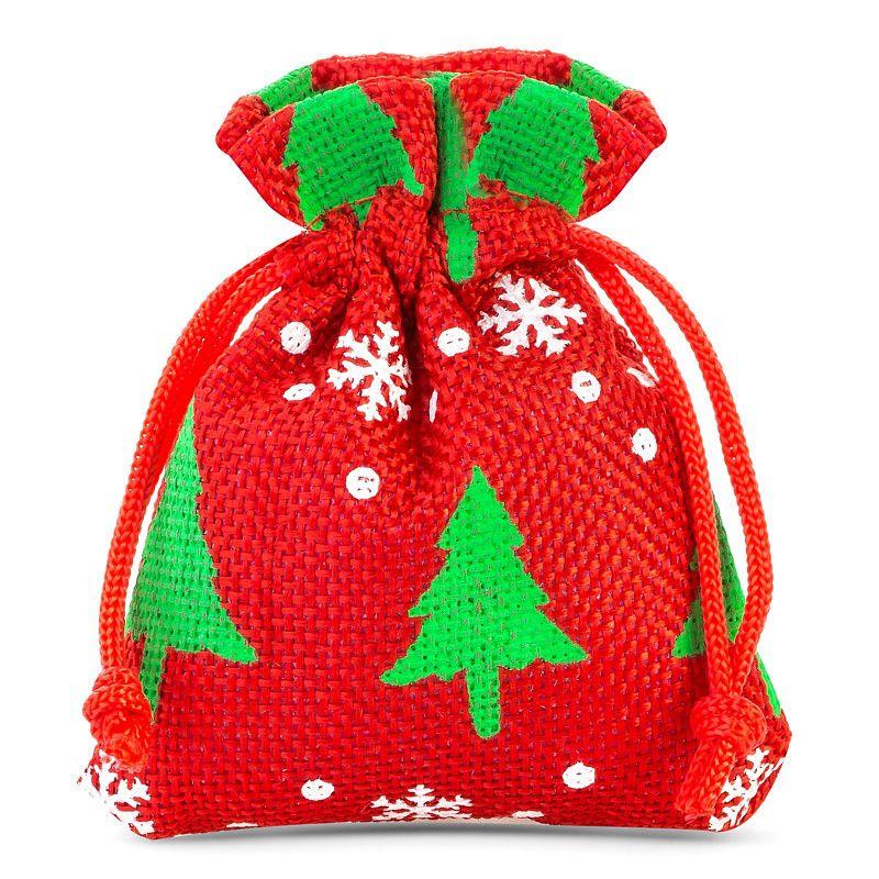 10 ks Jutové sáčky 10 x 13 cm - červený / vánoční strom