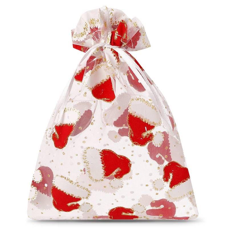 10 ks Organza tašky 10 x 13 cm - Vánoce