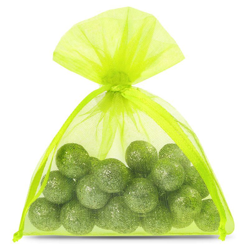 25 ks Organza tašky 8 x 10 cm - neonově zelené