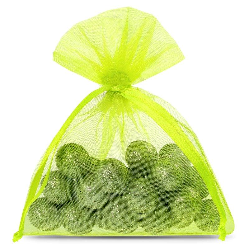 25 ks Organza tašky 8 x 10 cm - neonově zelené Dekorativní Organza tašky