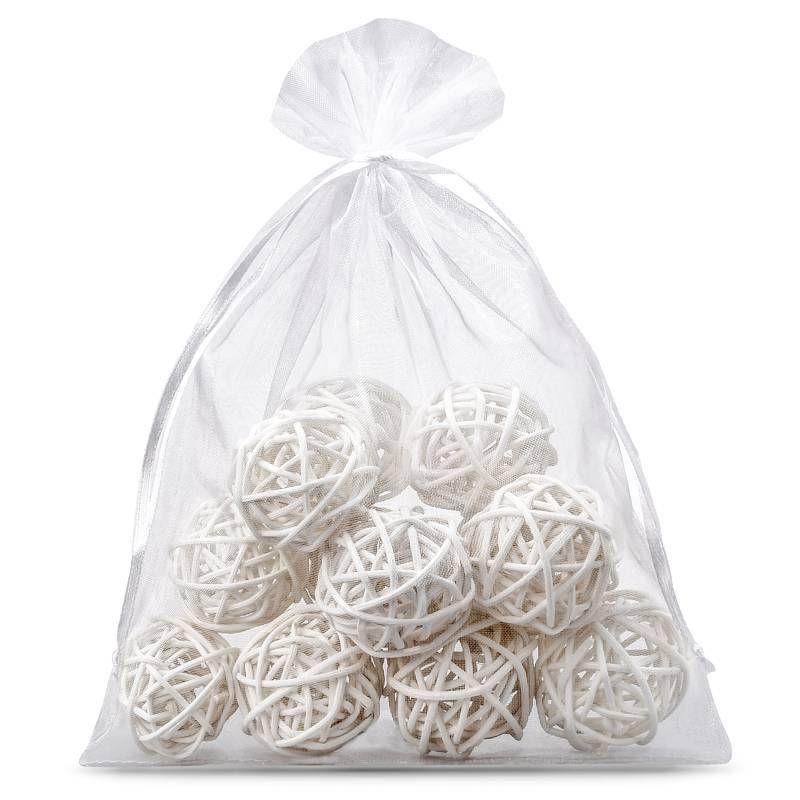 10 ks Organza tašky 22 x 30 cm - bíle