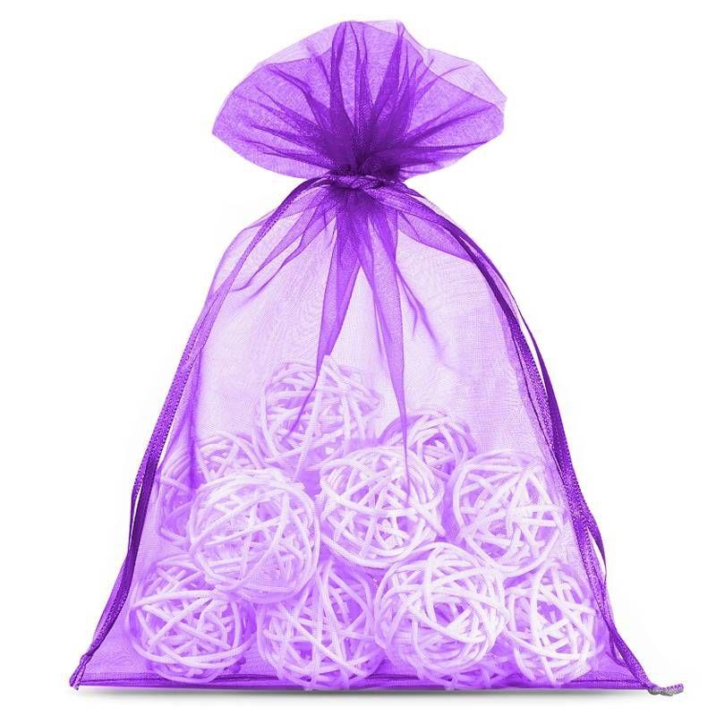 25 ks Organza tašky 13 x 18 cm - tmavě fialové