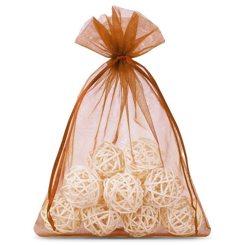 25 ks Organza tašky 13 x 18 cm - hnědé