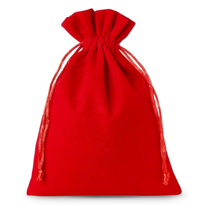 10 ks Sametové sáčky 12 x 15 cm - červené