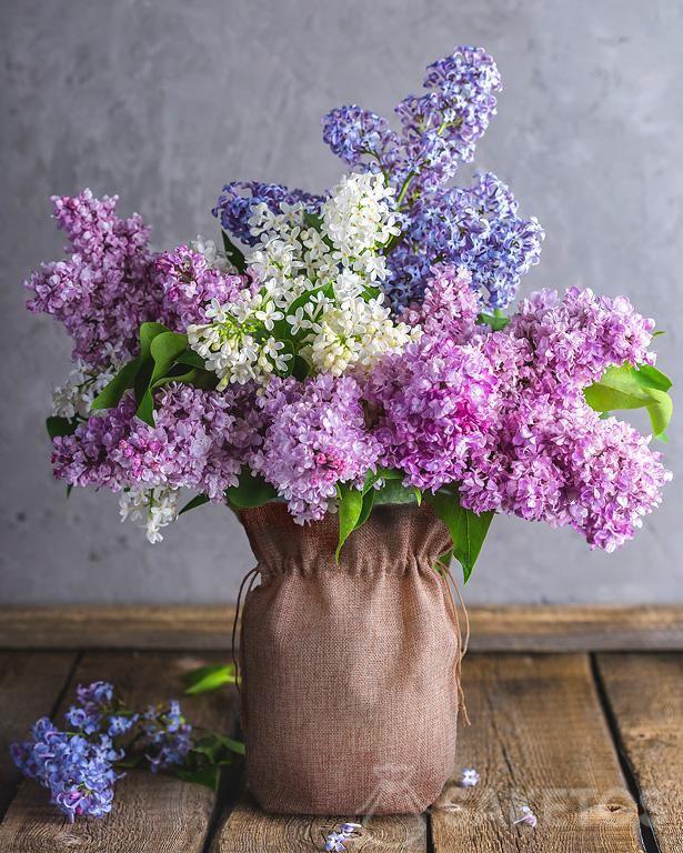 5.Jutový sáček jako kryt vázy s květy šeříku