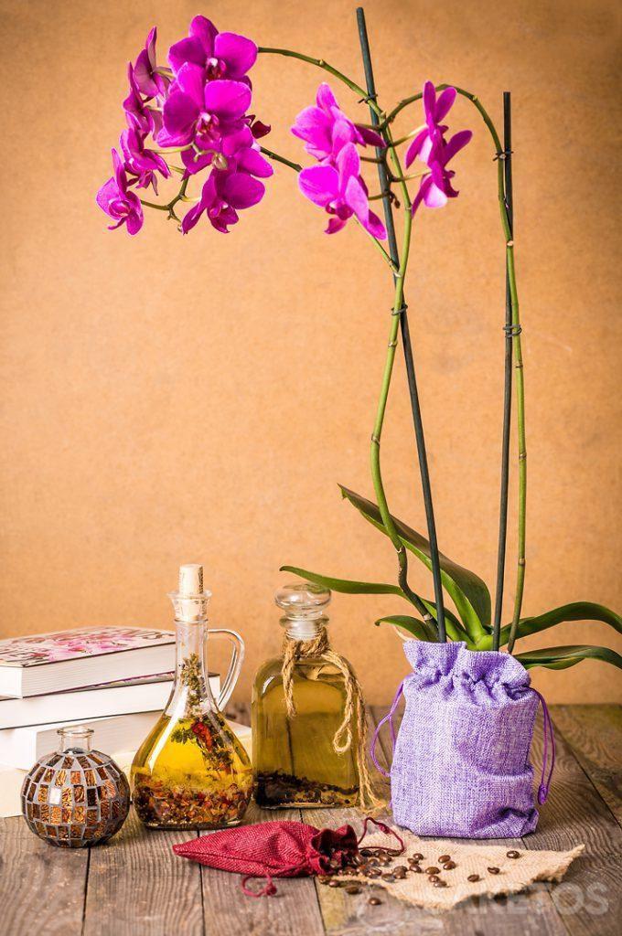 Orchidej zabalená v dekorativním jutovým sáčku