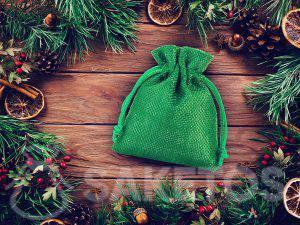Zelený jutový sáček