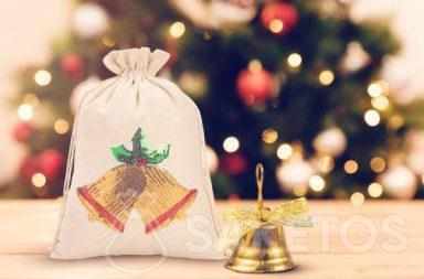 Vánoční sáček s flitrovou nášivkou