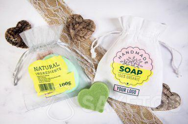 Taška s logem jako obal na ručně vyráběná mýdla