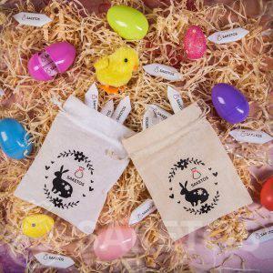 Bavlněné sáčky zdobené velikonočním potiskem s místem pro logo